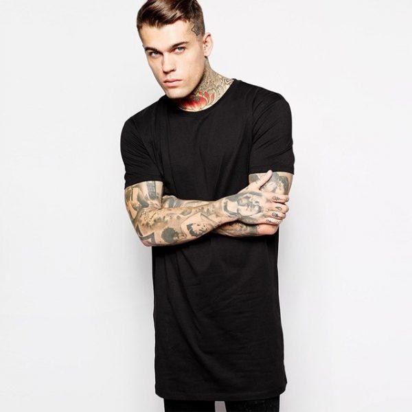 2018 Brand New Clothing Mens Black Long t shirt Men Tops Hip hop tee T-shirt  Men Hiphop Short Sleeve Longline casual Tee shirts 85ccd451aa1b