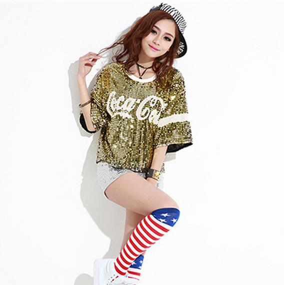 0cfd22e87 ... 2018 New female sexy nightclub ds costumes jazz Dance Wear tops singer  perform t shirt hip-hop clothing sequined tops. 350850