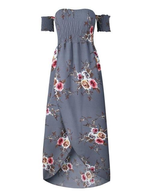 151238df7f Boho style long dress women Off shoulder beach summer dresses Floral print  Vintage chiffon white maxi dress vestidos de festa