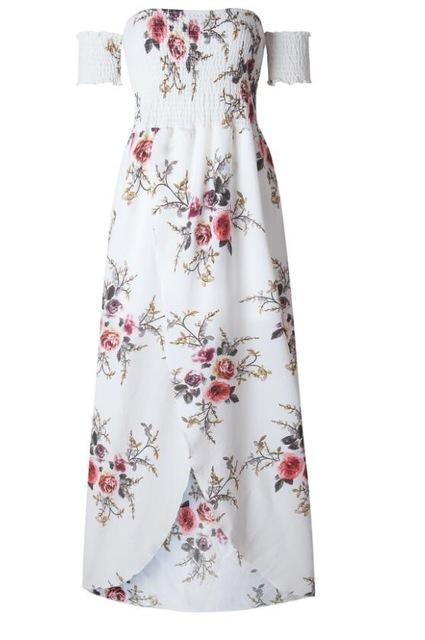021306660f ... Boho style long dress women Off shoulder beach summer dresses Floral  print Vintage chiffon white maxi dress vestidos de festa. 10. 29