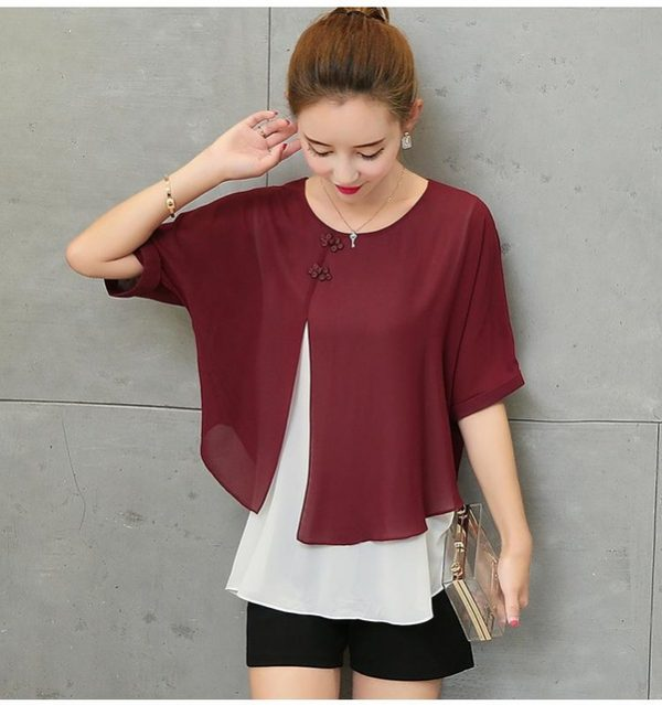 fd59d301f0fe New Fashion 2017 Summer Loose Casual Women Chiffon Blouses Shirt Batwing  Sleeve Two Layer Ladies Tops Buttons Blusas Clothing