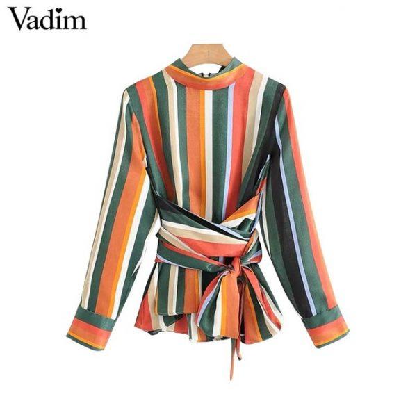 0859cb9abcbaf Vadim women vintage bow tie color striped shirt stand collar zipper long  sleeve blouse retro autumn casual tops blusas LT2385