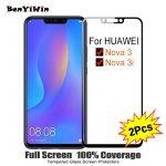 2PCS Full Cover Screen Protector Tempered Glass For Huawei nova 3 3i 6.30″ 9H Protective glass For Nova 3 3I PAR AL00 Film Case